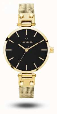 Mockberg Livia petite noir gold pvd plated mesh armband zwarte wijzerplaat MO403