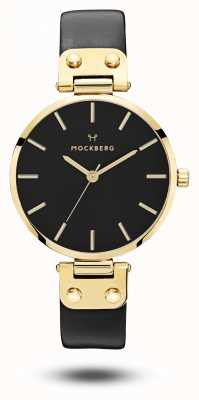 Mockberg Saga zwart gouden pvd case zwarte band zwarte wijzerplaat MO113