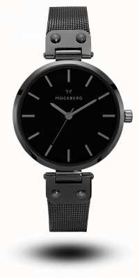 Mockberg Lio zwart pvd vergulde mesh armband zwarte wijzerplaat MO305