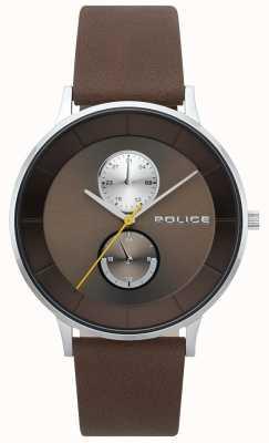 Police Heren berkeley bruin lederen bandhorloge 15402JS/12