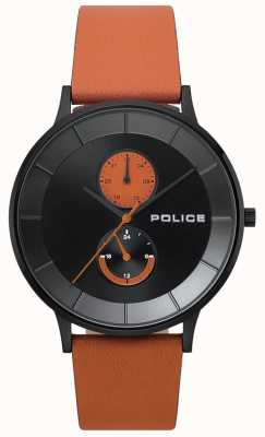 Police Heren berkeley oranje lederen bandhorloge 15402JSB/02