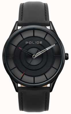 Police Burbank zwart leer voor heren, zwart ip-hoes horloge 15399JSB/02