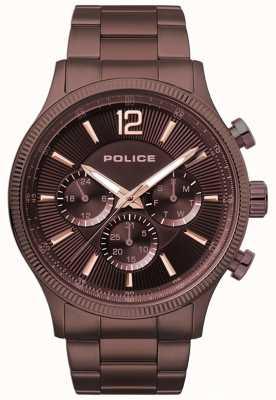 Police Heren wild bruin ip geplateerd armbandhorloge 15302JSBN/12M