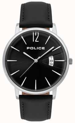 Police Heren deugd zwart lederen horloge 15307JS/02