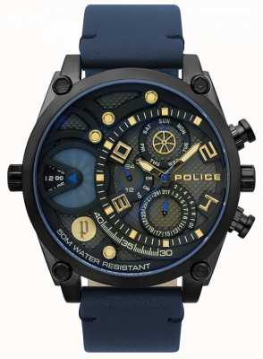 Police Mensengestuurd blauw lederen bandhorloge 15381JSB/61