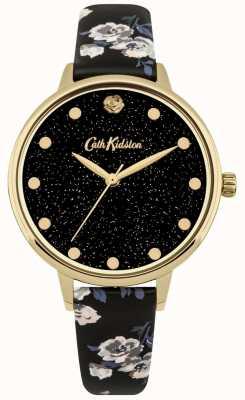 Cath Kidston Womens glittery eilandtros zwart bandhorloge CKL056BG