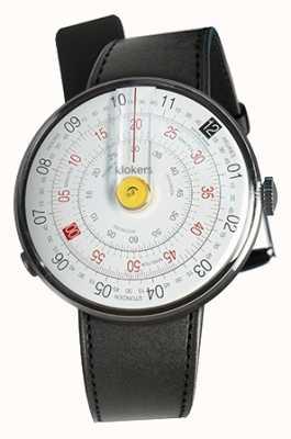 Klokers Klok 01 gele horloge hoofd zwart satijn enkele riem KLOK-01-D1+KLINK-01-MC1