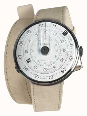 Klokers Klok 01 zwart horloge hoofd grijs alcantara 420mm dubbele band KLOK-01-D2+KLINK-02-420C6