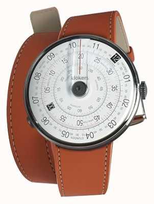 Klokers Klok 01 zwart horloge hoofd oranje 420mm dubbele riem KLOK-01-D2+KLINK-02-420C8