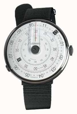 Klokers Klok 01 zwart horloge hoofd zwart textiel enkele riem KLOK-01-D2+KLINK-03-MC3