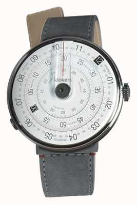 Klokers Klok 01 zwart horloge kop grijs alcantara zeestraat enkele riem KLOK-01-D2+KLINK-04-LC11