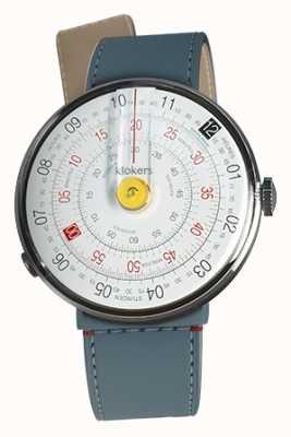Klokers Klok 01 geel horloge hoofd blauw jean zeestraat enkele riem KLOK-01-D1+KLINK-04-LC10