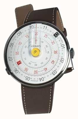 Klokers Klok 01 gele horloge hoofd chocolade bruin enkele riem KLOK-01-D1+KLINK-01-MC4