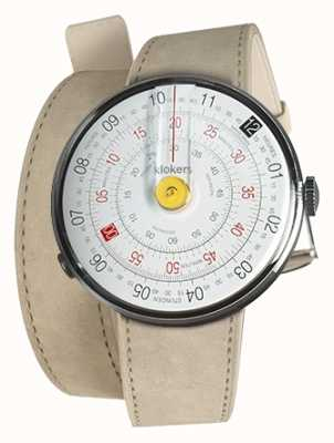 Klokers Klok 01 gele horlogekast grijze alcantara 420mm dubbele riem KLOK-01-D1+KLINK-02-420C6