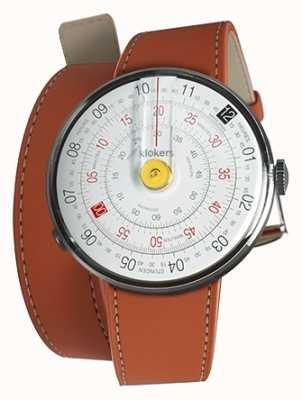 Klokers Klok 01 gele horloge hoofd oranje 420mm dubbele riem KLOK-01-D1+KLINK-02-420C8