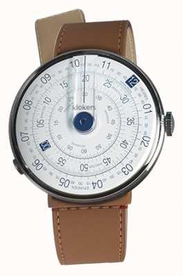Klokers Klok 01 blauwe horlogeband karamel bruine zeestraat enkele riem KLOK-01-D4.1+KLINK-04-LC12