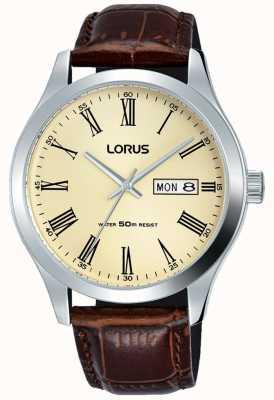 Lorus Roestvrij stalen kast lederen armband Romeinse cijfers crème RXN53DX9