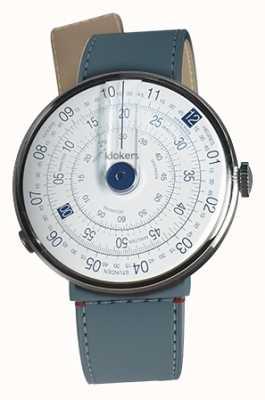 Klokers Klok 01 blauw horloge hoofd blauw jean zeestraat enkele riem KLOK-01-D4.1+KLINK-04-LC10