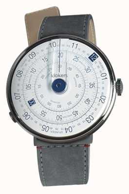 Klokers Klok 01 blauwe horlogekast grijze alcantara zeestraat enkele riem KLOK-01-D4.1+KLINK-04-LC11