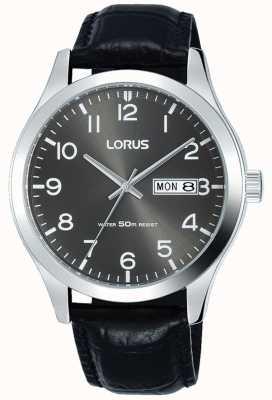 Lorus Zwart lederen bandje met grijze wijzerplaat datum en datum weergave RXN59DX9