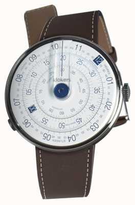Klokers Klok 01 blauwe horloge hoofd chocolade bruine enkele riem KLOK-01-D4.1+KLINK-01-MC4