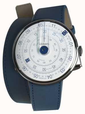 Klokers Klok 01 blauwe horlogeband indigo blauwe dubbele riem KLOK-01-D4.1+KLINK-02-380C3