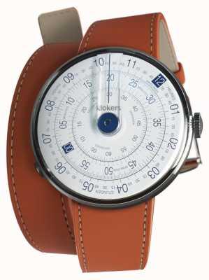 Klokers Klok 01 blauwe horlogekast oranje 420mm dubbele riem KLOK-01-D4.1+KLINK-02-420C8