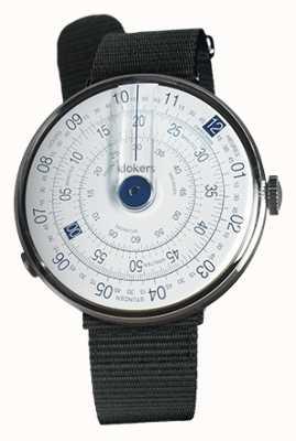 Klokers Klok 01 blauwe horloge hoofd zwart textiel enkele riem KLOK-01-D4.1+KLINK-03-MC3