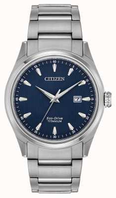Citizen Super titanium heren armband met blauwe wijzerplaat in zilverkleur BM7360-82L