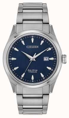 Citizen Heren blauwe wijzerplaat zilveren tone super titanium armband BM7360-82L