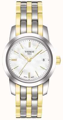 Tissot Klassieke witte dameszw geboord wijzerplaat tweekleurige armband T0332102211100