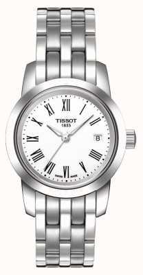 Tissot Klassieke witte wijzerplaat roestvrij stalen armband met wijzerplaat T0332101101300