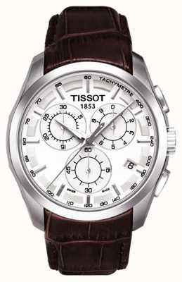 Tissot Heren coutourier chronograaf witte wijzerplaat lederen band T0356171603100