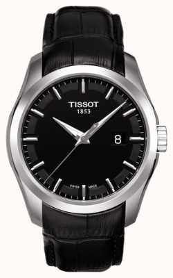 Tissot Heren coutourier zwarte wijzerplaat lederen band datum T0354101605100