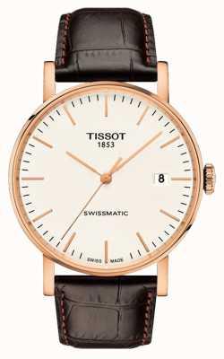 Tissot Heren everytime swissmatic rosegouden lederen band T1094073603100