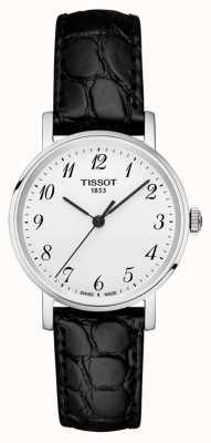 Tissot Womens everytime zwarte band zilveren wijzerplaat Arabische cijfers T1092101603200