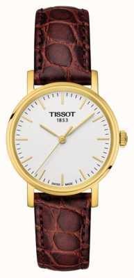 Tissot Womens elke keer bruin leer verguld Zwitsers gemaakt T1092103603100