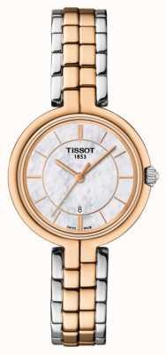 Tissot Flamingo rosé vergulde damesring tweekleurige wijzerplaat armband T0942102211100