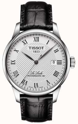 Tissot Mens le locle powermatic 80 zilveren wijzerplaat zwarte lederen band T0064071603300
