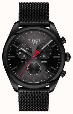 Tissot Pr100 chronograaf zwart pvd vergulde armband voor heren T1014173305100