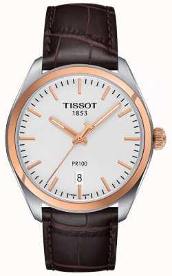 Tissot Heren pr100 bruin lederen band rosegoud verguld T1014102603100