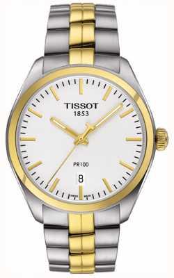Tissot Heren pr100 roestvrij staal vergulde armband datum T1014102203100