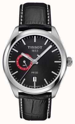 Tissot Pr100 dual time zwarte wijzerplaat zwarte leren riem T1014521605100