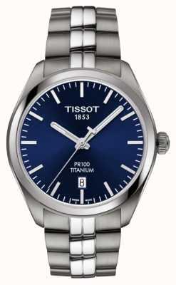 Tissot Mens pr100 titaniumblauwe wijzerplaatkwarts T1014104404100