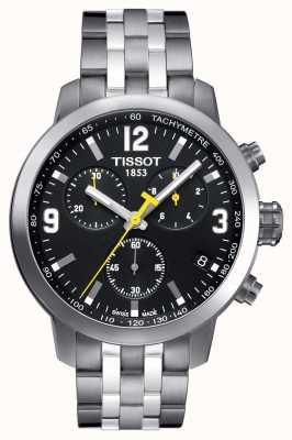 Tissot Mens prc 200 chronograaf zwarte wijzerplaat met twee tonen T0554171105700