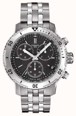 Tissot Mens prs 200 zwarte wijzerplaat chronograaf roestvrij stalen armband T0674171105101