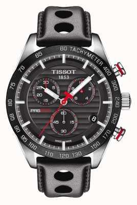 Tissot Mens prs 516 chronograaf zwarte wijzerplaat lederen band T1004171605100