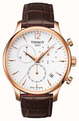 Tissot Herenmode chronograaf rosé verguld bruin leer T0636173603700