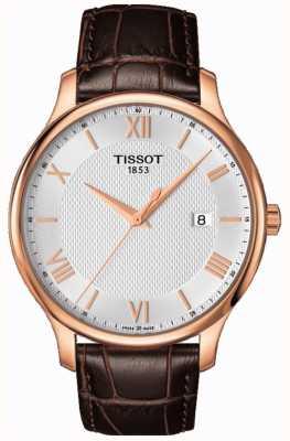 Tissot Mensengroep rosé verguld zilver wijzerplaat bruin leer T0636103603800
