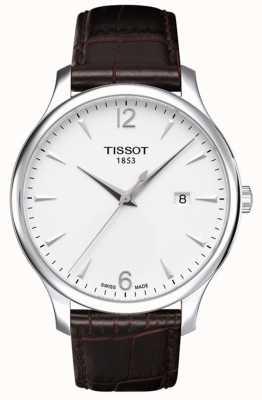 Tissot Herenhorloge bruin lederen band in zilverkleur T0636101603700
